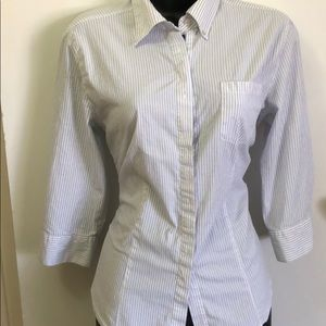Chicos size 1 blue and white pinstripe oxford
